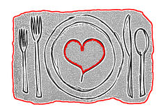 Dinner Date Contemporary Art concept with plate containing a red heart surrounded by silverware. Artistic dinner date concept Royalty Free Stock Photos
