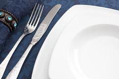 Dinner Decoration. Plate, Knife & Fork Royalty Free Stock Images