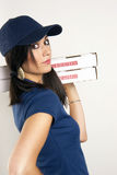 Pizza Dinner Delivered by Beautiful Female Driver royalty free stock photography