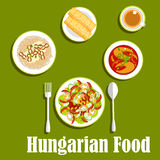 Dinner with dessert of hungarian cuisine Royalty Free Stock Image