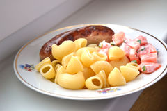 Dinner. Dish with meat, pasta and tomato Stock Image