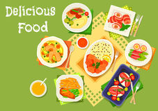 Dinner dishes with bacon snacks icon. Of chicken soup, bacon rolls with chicken, sausage, cream cheese and asparagus, battered fish with fries, stewed fish with Royalty Free Stock Photo