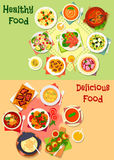Dinner dishes with healthy dessert icon set. Healthy dishes with dessert for dinner icon set of fruit and vegetable salad with chicken, cheese, tuna and herring Royalty Free Stock Images