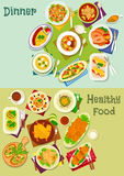 Dinner dishes icon set with salad, snack and soup Royalty Free Stock Image