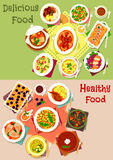 Dinner dishes top view icon set for food design Stock Images