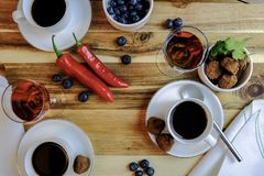 After dinner drinks with chocolate and chilli royalty free stock image