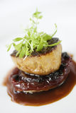 Dinner Entree With Garnish. Dinner entree in a gourmet restaurant with sprouts and brown sauce. Vertical shot Royalty Free Stock Photo