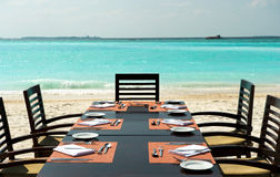 Dinner on exotic beach. Maldives Stock Image