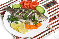 Dinner with fish Stock Images