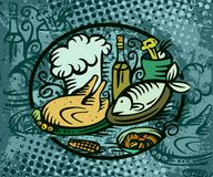 Dinner fish chicken. Food illustration Royalty Free Stock Photography