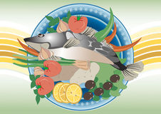 For dinner  fish. Painting.Banner. Stock Images