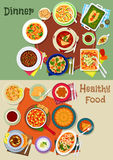 Dinner food icon with spanish and jewish dishes Stock Image