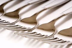 DInner Forks on white Stock Image