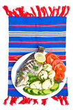 Dinner with fried fish Stock Images