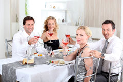 Dinner with friends royalty free stock photo