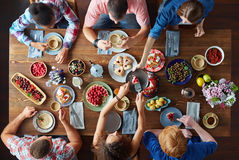 Dinner of friends royalty free stock photo