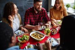 Dinner of friends stock photo