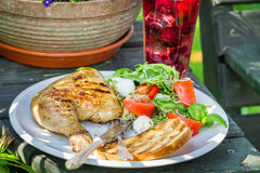 Dinner in the garden during summer. Closeup of Dinner in the garden during summer Royalty Free Stock Photos