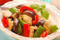 Dinner with grilled vegetables,chicken and rice Royalty Free Stock Photos