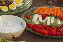Before Dinner Horderves. Deviled eggs, kalamata and green olives served with carrots, jimaca and cherry tomatoes as a before dinner horderve Royalty Free Stock Images