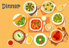 Dinner icon with dishes of italian, german cuisine Stock Photo