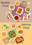 Dinner icon set of popular dishes for menu design Stock Photography