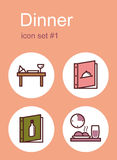 Dinner icons Stock Photography