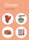 Dinner icons Royalty Free Stock Photo