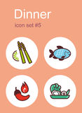 Dinner icons Royalty Free Stock Image