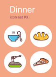 Dinner icons Royalty Free Stock Images
