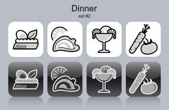 Dinner icons Royalty Free Stock Photos