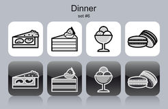 Dinner icons Stock Photos