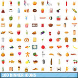 100 dinner icons set, cartoon style Stock Images
