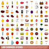 100 dinner icons set, flat style. 100 dinner icons set in flat style for any design vector illustration Stock Image