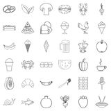 Dinner icons set, outline style. Dinner icons set. Outline style of 36 dinner vector icons for web isolated on white background Royalty Free Stock Photo