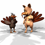 Dinner Invitation. Oink! Turkey inviting Pig to a masked party and Thanksgiving dinner Stock Photography