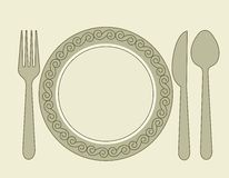 Dinner invitation. Card background with spoon, knife and fork royalty free illustration