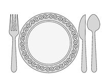 Dinner invitation. Black and white dinner invitation card background with spoon, knife and fork royalty free illustration