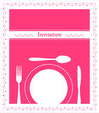 Dinner Invitation. Food - restaurant - menu design with cutlery silhouette and background Royalty Free Stock Photography