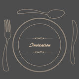 Dinner Invitation. Food - restaurant - menu design with cutlery silhouette and background Royalty Free Stock Images