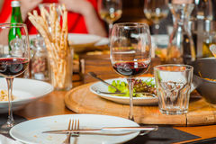 Dinner in italian restaurant Royalty Free Stock Photography