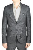 Dinner jacket gray suit, small checkered pattern, isolated over Stock Photos