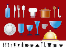 Dinner and kitchen icons. Collection of dinner and kitchen icons and symbols Stock Photo