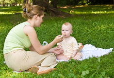 Dinner on a lawn. Mother spoon-feeds the child sitting on a coverlet on a lawn with a green grass Stock Photos