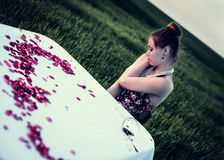 Dinner of lonely romantic woman Stock Photo