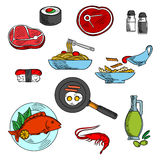 Dinner and lunch food elements Stock Images