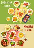 Dinner and lunch food icon set for menu design Stock Images