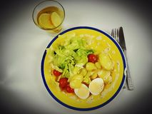 Dinner lunch plate celebration food delicious elegant eat. Water lemon juice vegetables vegetarian Stock Images