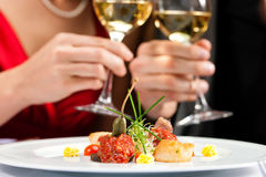 Dinner or lunch in restaurant Royalty Free Stock Photo