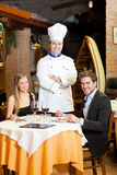 Dinner in a luxury restaurant Royalty Free Stock Images